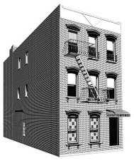 Apartment building in a city