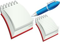 Ring bound notepads and cartoon pen