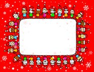 happy christmas kids holding hands with copyspace banner cartoon