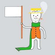 Whoopee boy with blank banner smoking pipe