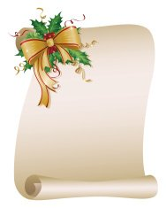 Holiday Scroll with Ribbon and Holly