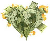 Heart shape made by money