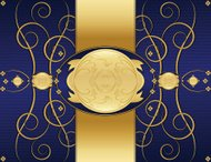Floral Swirl Background Design - Rich Blue and Shiny Gold
