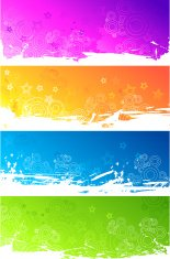 Set of abstract colourful grunge banners