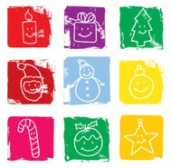 Happy christmas icon blocks