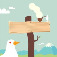 Nature sign bird and pipe smoker character illustration