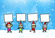 Christmas children with banner at winter cartoon