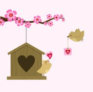 Love bird. St. Valentine card. Happy birthday. sakura