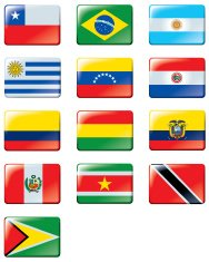 All flags of South America.