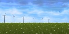 Summer scenery with several wind turbines on grassy plain
