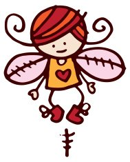 Cute cartoon fairy with pink wings