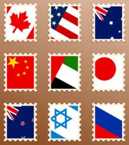 World Flag Stamps
