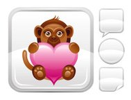 Plush monkey with heart icon on silver button