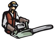 Carpenter with Electric Saw (Vector)