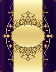 Floral Swirl Background Design - Rich Purple and Shiny Gold
