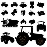 tractor silhouette set