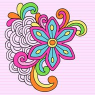 Groovy Psychedelic Flower Notebook Doodle