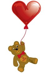 Valentine teddy bear with balloon