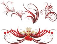 Collection of gothic ornaments on the white background