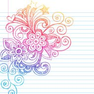 Hand-Drawn Sketchy Flower Notebook Doodles