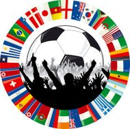Soccer Logo With Ball, Cheering Fans, and Circle of Flags