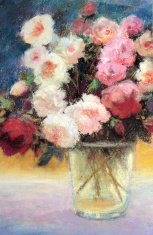 Rose Bouquet in Morning Sunlight Pastel Painting