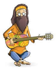Hippie with guitar isolation