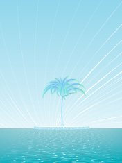 Island of a lonely palm tree background