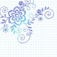 Hand-Drawn Sketchy Flower and Vines Notebook Doodles