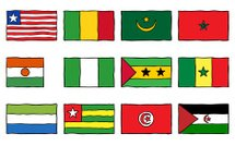 Hand Drawn Flags West and North Africa Two