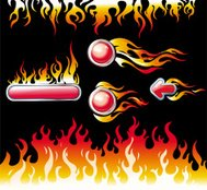 Fire graphic elements and buttons