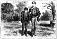 Two young men chatting - Victorian illustration