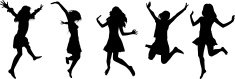 Some silhouettes of jumping people