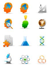Knowledge and research related icon set.