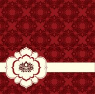 swirl banner over floral background