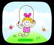 happy little girl playing in summer,spring green nature cartoon