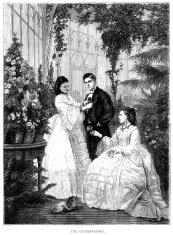 Victorian people in a conservatory (1875 illustration)