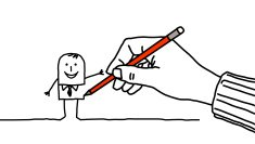 drawing hand & businessman