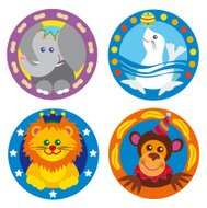 set of four circus theme animals