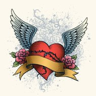 Heart Tattoo with Wings, Roses and Banner