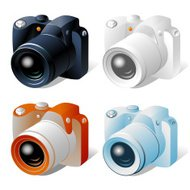Isometric icon of digital camera in four colors