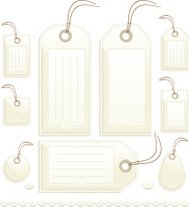 Shiny Beige Stitched Gift, Price or Luggage Tags, Labels