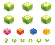 Green glass recycling icon blocks