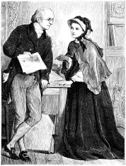 Lady and gentleman discussing art (Victorian illustration)