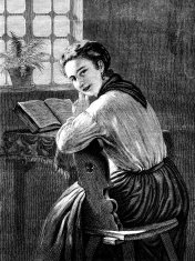 Woman sitting at a sunny window (Victorian engraving)