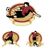 Soccer Player in Action Emblems