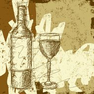 wine bottle and glass sketch