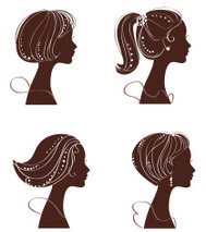 Beautiful woman's silhouette. Set of vector illustration