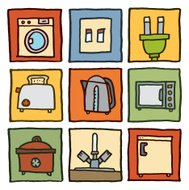 In the kitchen block icon set