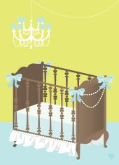 Blue and Lime Baby Crib Background